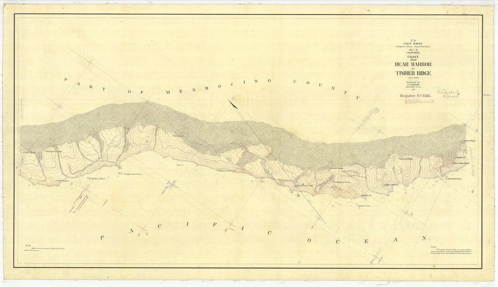 18 x 24 inch 1873 US old nautical map drawing chart of Coast from Bear Harbor to Timber Ridge From  U.S. Coast Survey x2069