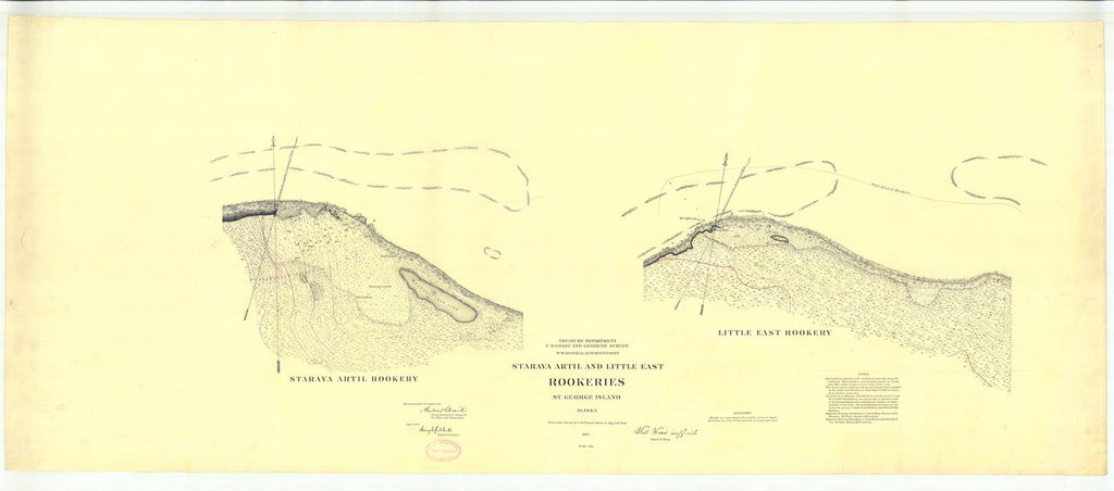 18 x 24 inch 1897 US old nautical map drawing chart of Staraya Artil and Little East Rookies St. George Island From  US Coast & Geodetic Survey x228