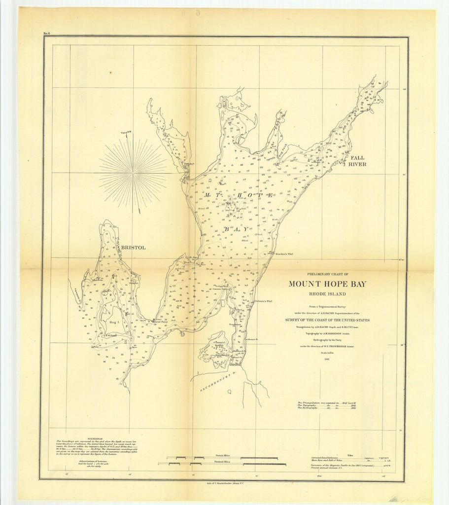 18 x 24 inch 1861 Rhode  Island old nautical map drawing chart of Preliminary Chart of Mount Hope Bay, Rhode Island From  U.S. Coast Survey x8085