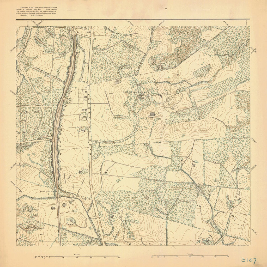 18 x 24 inch 1893 US old nautical map drawing chart of SURVEY OF POTOMAC REGION From  US Coast & Geodetic Survey x1593