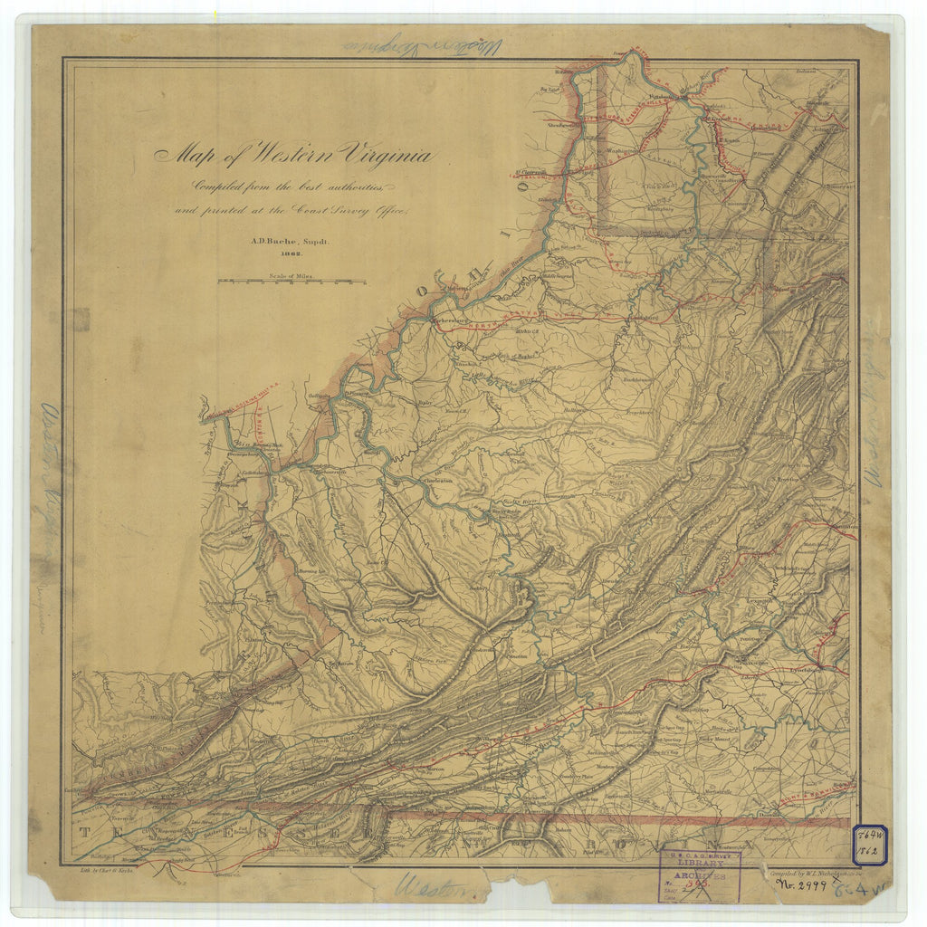 18 x 24 inch 1862 Virginia old nautical map drawing chart of Map of Western Virginia From  U.S. Coast Survey x9584