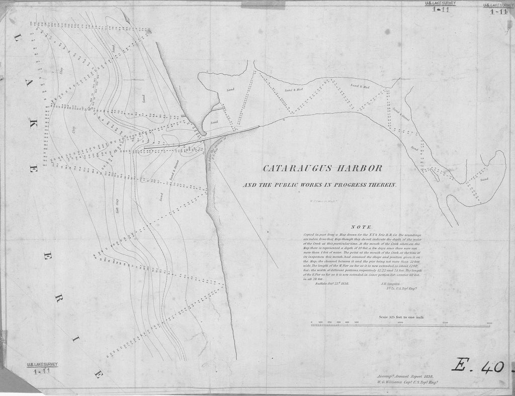 18 x 24 inch 1838 New York old nautical map drawing chart of CATARAUGUS HARBOR AND THE PUBLIC WORKS IN PROGRESS THEREIN From  U.S. Lake Survey x6345