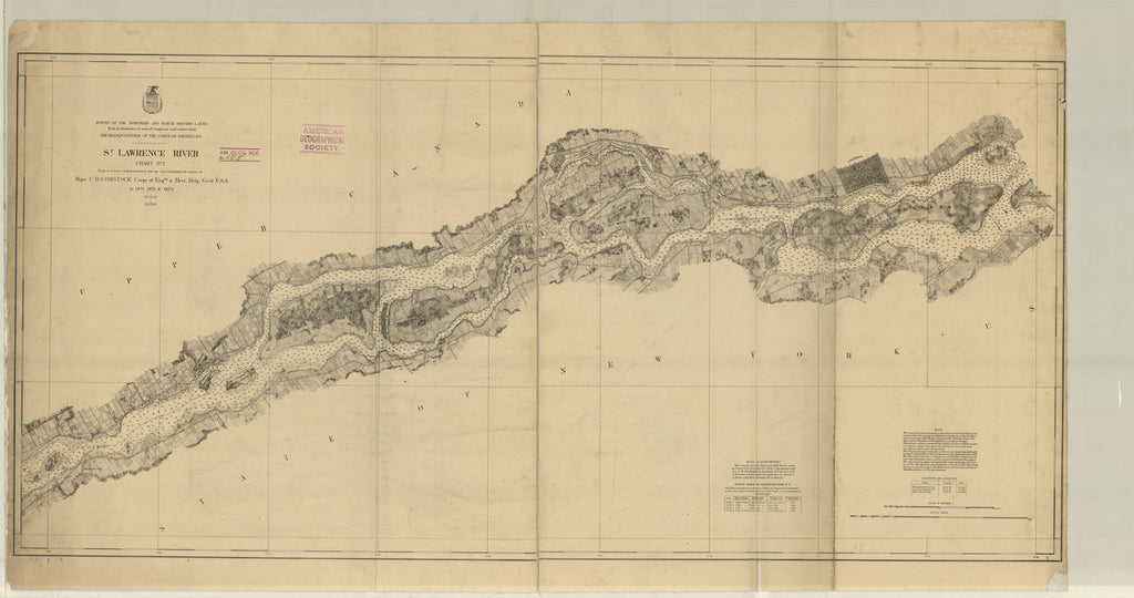 18 x 24 inch 1880 New York old nautical map drawing chart of SAINT LAWRENCE RIVER PART 1 From  Lake Survey x6943