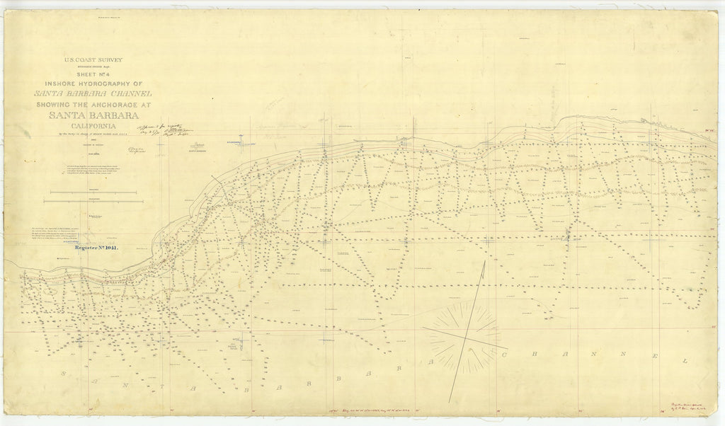 18 x 24 inch 1869 US old nautical map drawing chart of Santa Barbara Channel showing the Anchorage at Santa Barbara Sheet No. 4 From  U.S. Coast Survey x1704