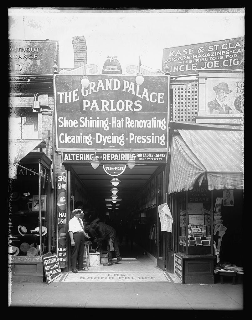 16 x 20 Reprinted Old Photo ofGrand Palace, shoe shining parlor, [719 1/2 14th St., Washington, D.C.] 1922 National Photo Co  30a