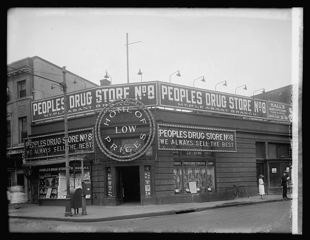 16 x 20 Reprinted Old Photo ofPeoples Drug store, 14 & Park Rd., [Washington, D.C.] 1922 National Photo Co  58a