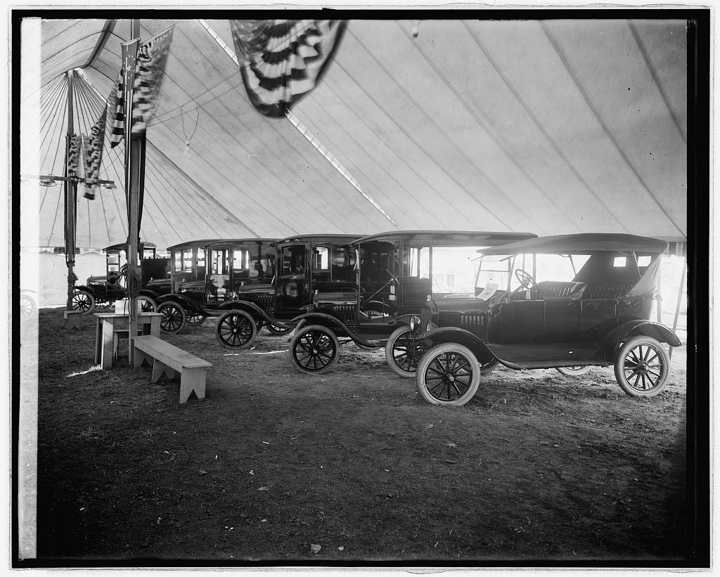 16 x 20 Reprinted Old Photo of[Automobiles on display in tent] 1922 National Photo Co  80a