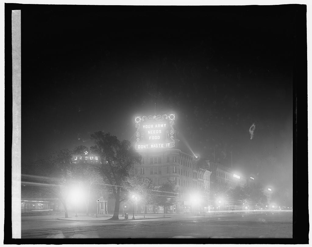 16 x 20 Reprinted Old Photo of Wash., D.C., Food Adm., World War I: elec. signs, 7th & Pa. Ave., N.W. 1910 National Photo Co  56a