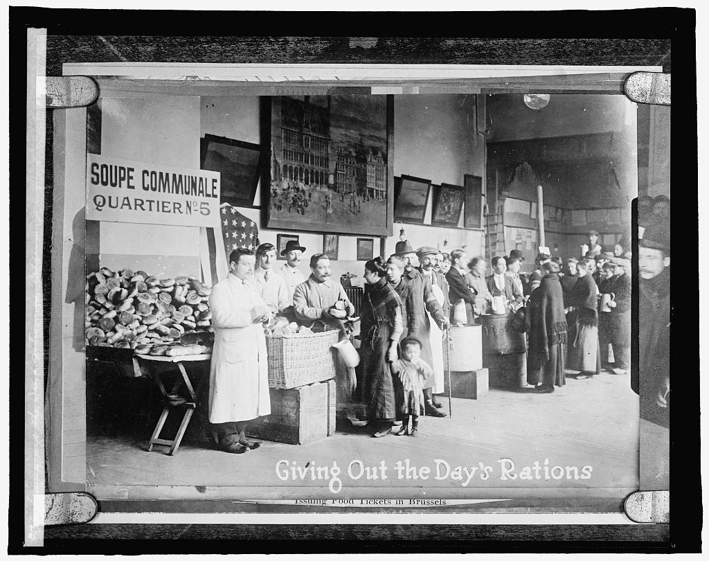 16 x 20 Reprinted Old Photo of Giving out the day's rations in Belgium 1910 National Photo Co  66a