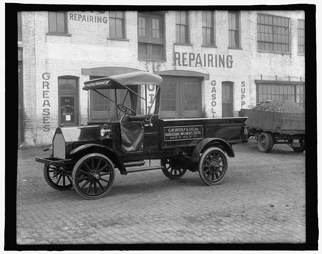 16 x 20 Reprinted Old Photo of [Truck: C.M. Woolf & Co., Inc., Agricultural Implements, Seeds, 1005 B St., N.W., Washington, D.C.] 1910 National Photo Co  72a