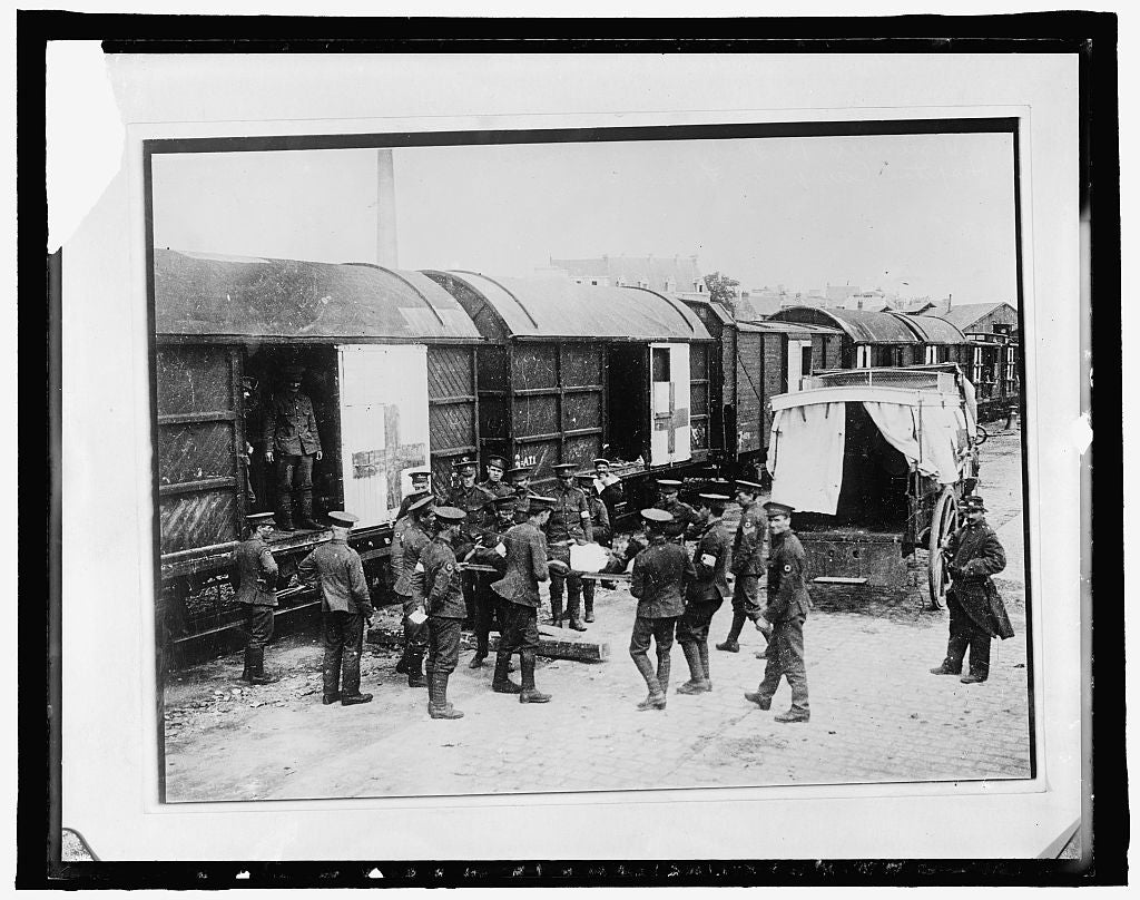 16 x 20 Gallery Wrapped Frame Art Canvas Print of  #140 American Red Cross, English Red Cross train in France: Wounded ... Hospital Camp in France 1910 National Photo Co  28a