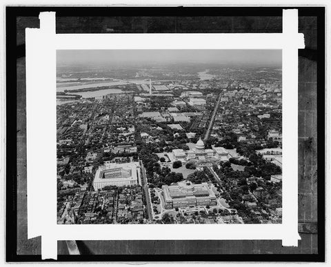 16 x 20 Gallery Wrapped Frame Art Canvas Print of  Air view of Wash., D.C. 1935 National Photo Co  60a