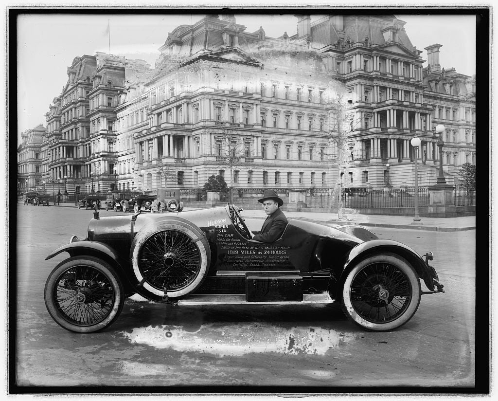16 x 20 Reprinted Old Photo ofHudson Super Six car in front of State, War and Navy building, Washington, D.C. 1923 National Photo Co  30a