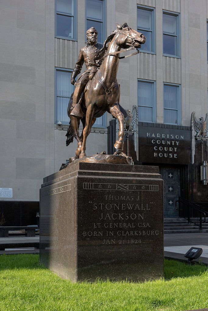 "18 x 24 Photograph reprinted on fine art canvas  of A monument to Confederate General Thomas ""Stonewall"" Jackson outside the Harrison County Courthouse in Clarksburg West Virginia r06 42127 by Highsmith, Carol M."