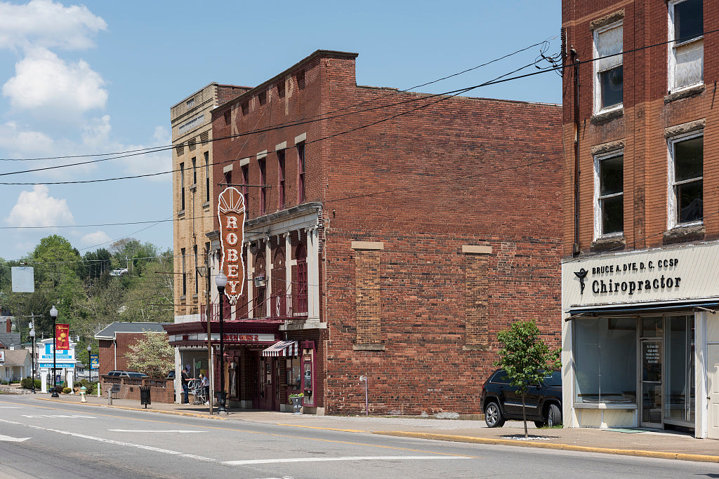 18 x 24 Photograph reprinted on fine art canvas  of Downtown block that includes the Robey Theatre in Spencer West Virginia r51 42130 by Highsmith, Carol M.