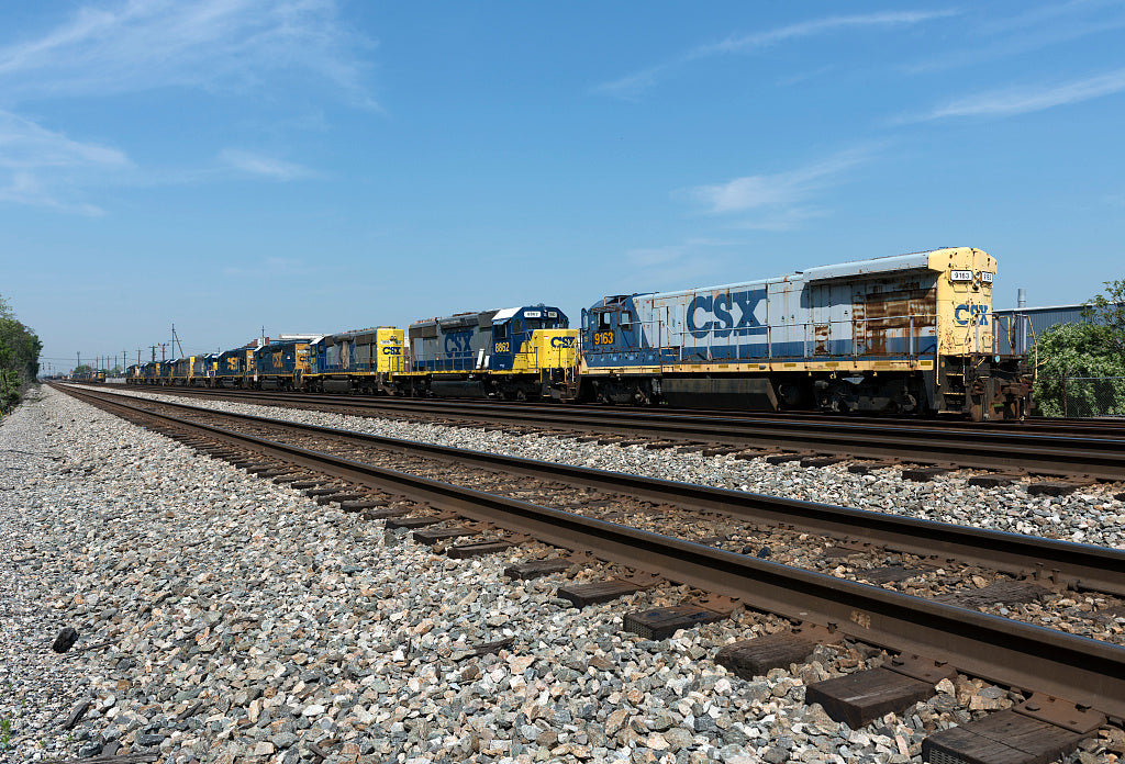 18 x 24 Photograph reprinted on fine art canvas  of String of locomotives in the CSX rail yards in Huntington West Virginia r01 42131 by Highsmith, Carol M.