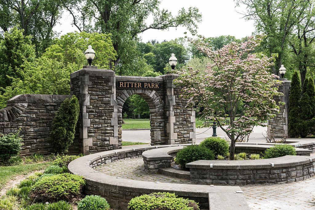 18 x 24 Photograph reprinted on fine art canvas  of Archway in Huntington West Virginia's Ritter Park r34 42131 by Highsmith, Carol M.