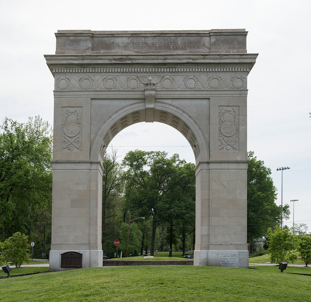 18 x 24 Photograph reprinted on fine art canvas  of The Memorial Arch a limestone arch on a granite base adjacent to Memorial Park in Huntington West Virginia r45 42131 by Highsmith, Carol M.