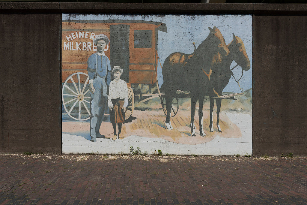 18 x 24 Photograph reprinted on fine art canvas  of Murals on the seawall Huntington West Virginia  r86 42132 by Highsmith, Carol M.