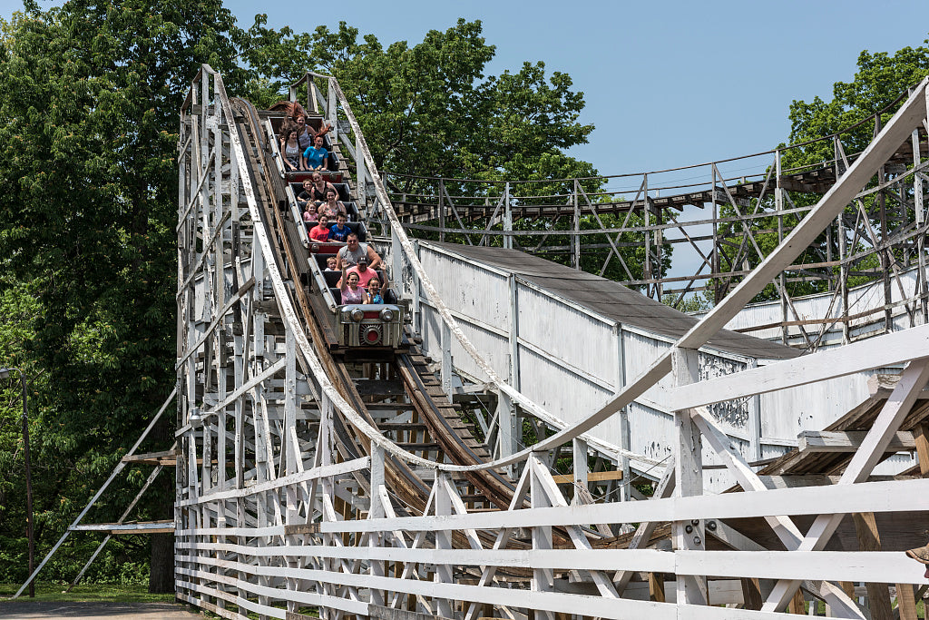 18 x 24 Photograph reprinted on fine art canvas  of Riders enjoy or endure a spin on the Big Dipper roller-coaster at Camden Park an amusement park on the outskirts of Huntington West Virginia r11 42133 by Highsmith, Carol M