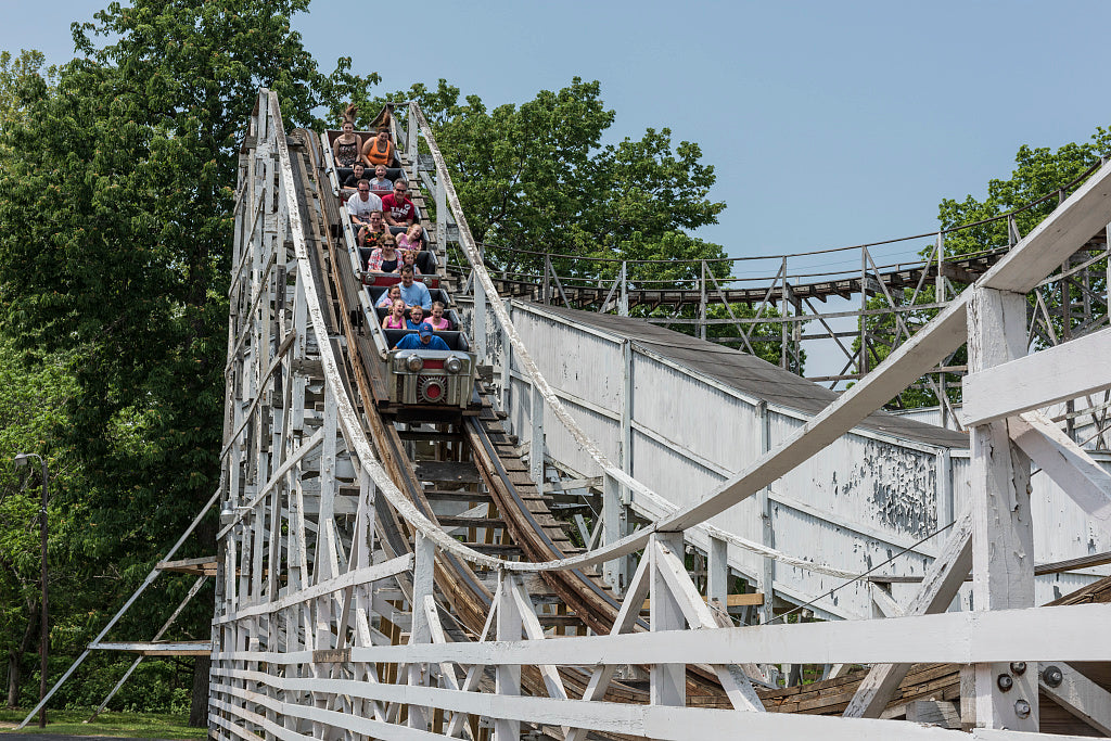 18 x 24 Photograph reprinted on fine art canvas  of Riders enjoy or endure a spin on the Big Dipper roller-coaster at Camden Park an amusement park on the outskirts of Huntington West Virginia r12 42133 by Highsmith, Carol M
