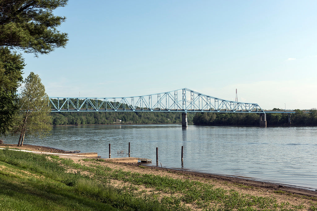18 x 24 Photograph reprinted on fine art canvas  of Ravenswood Bridge a two-lane 2 710-foot-long cantilever bridge connecting Ravenswood West Virginia and rural Meigs County Ohio across the Ohio River r48 42133 by Highsmith,