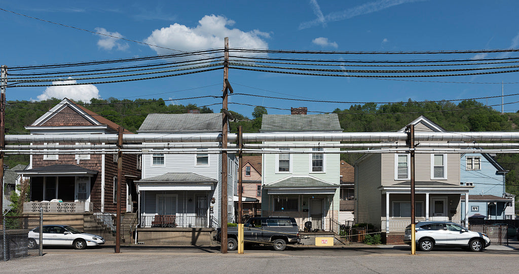 18 x 24 Photograph reprinted on fine art canvas  of Small homes in a row on Wheeling Island a part of Wheeling West Virginia located in the middle of the Ohio River r04 42134 by Highsmith, Carol M.
