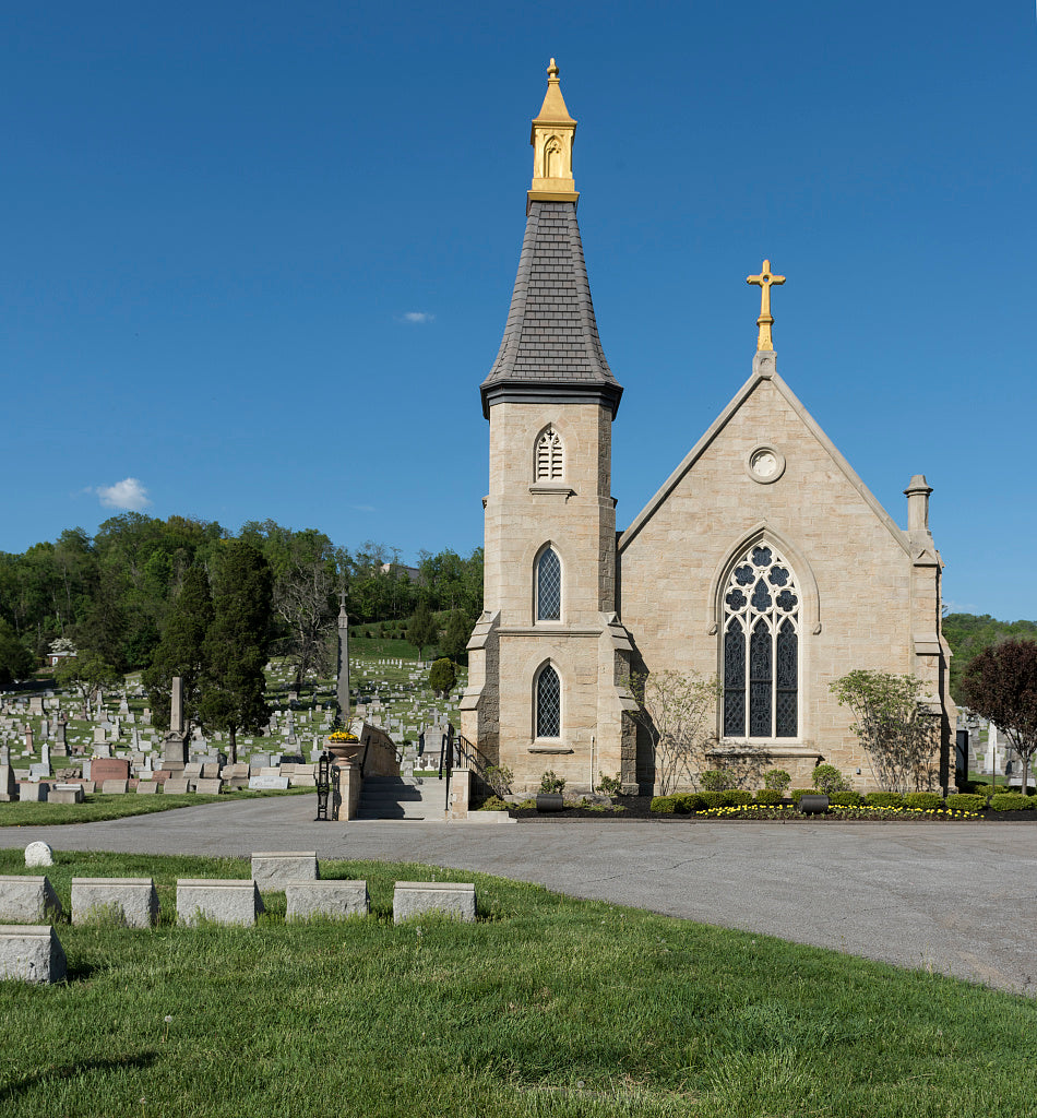 18 x 24 Photograph reprinted on fine art canvas  of Gravestones and the chapel building at Mount Calvary Cemetery adjacent to Wheeling City Park in Wheeling West Virginia r16 42134 by Highsmith, Carol M.