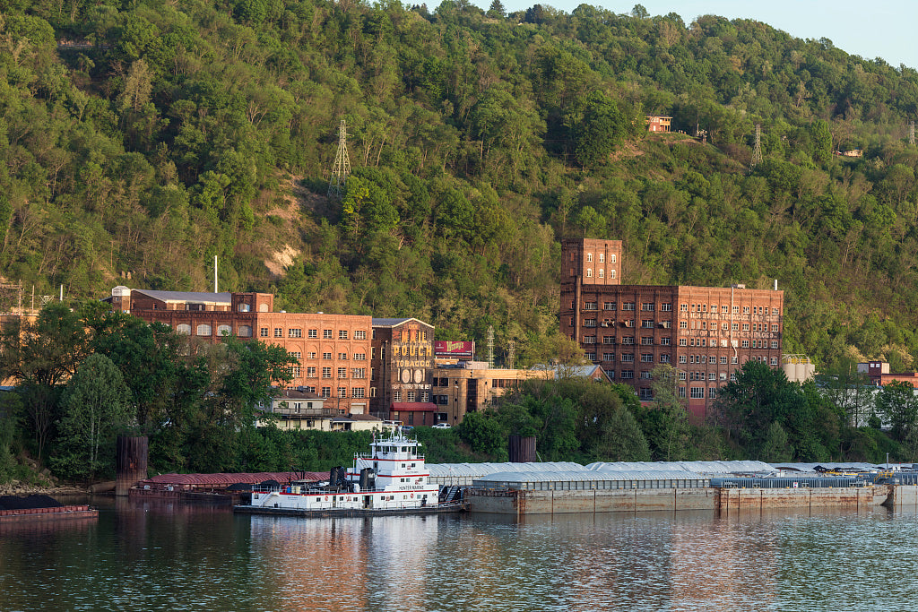 18 x 24 Photograph reprinted on fine art canvas  of A view from across the Ohio River in Ohio of Wheeling Island once a heavily industrialized part of Wheeling West Virginia in the midst of the river r29 42134 by Highsmith,