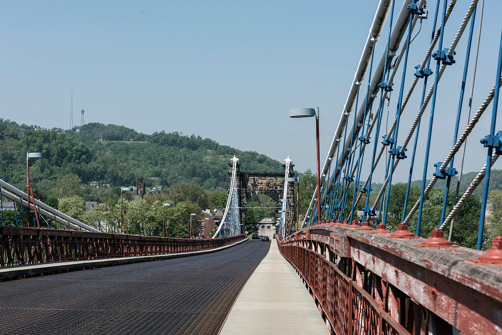 18 x 24 Photograph reprinted on fine art canvas  of The Wheeling Suspension Bridge also known as the Stone Arch Bridge which was the largest suspension bridge in the world from 1849 until 1851. Wheeling West Virginia r30 421