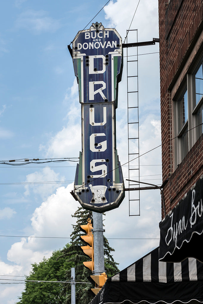 "18 x 24 Photograph reprinted on fine art canvas  of ""Drugs"" sign outside a pharmacy on the portion of the National Road that runs through Wheeling West Virginia r39 42135 by Highsmith, Carol M."