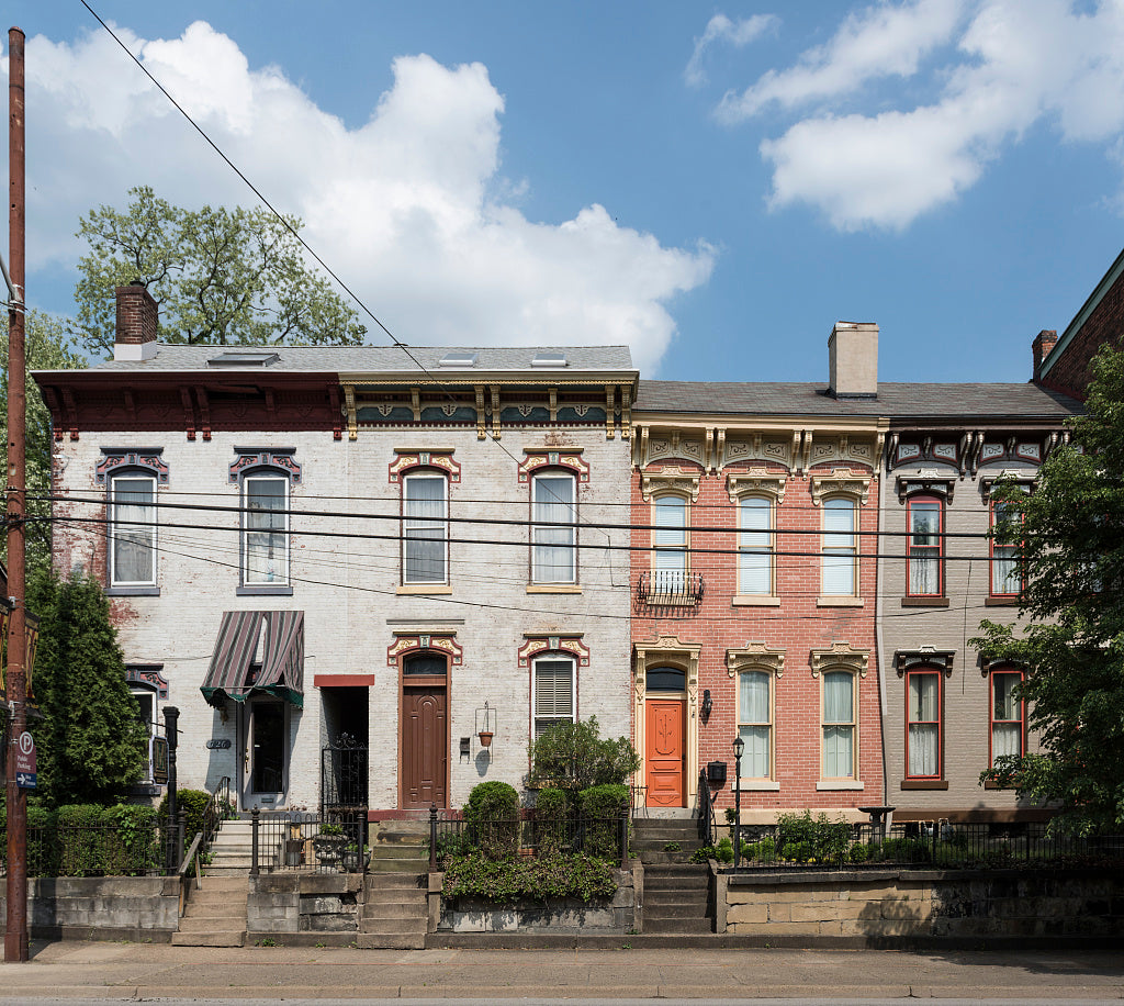 18 x 24 Photograph reprinted on fine art canvas  of Italianate homes along Chapline Street in downtown Wheeling West Virginia r54 42135 by Highsmith, Carol M.