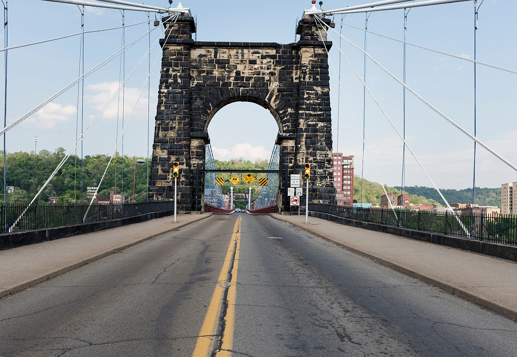 18 x 24 Photograph reprinted on fine art canvas  of The western or Wheeling Island arched entryway to the Wheeling Suspension Bridge also known as the Stone Arch Bridge which was the largest suspension bridge in the world fr