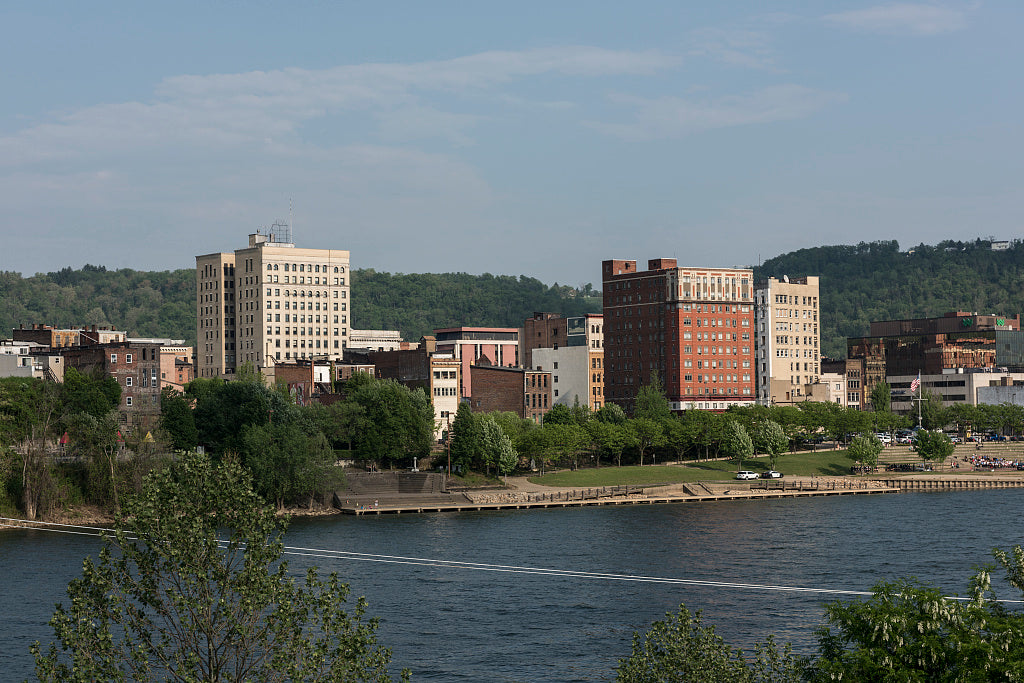 18 x 24 Photograph reprinted on fine art canvas  of View of downtown Wheeling West Virginia from Wheeling Island part of the city that lies on an island in the middle of the Ohio River r77 42135 by Highsmith, Carol M.