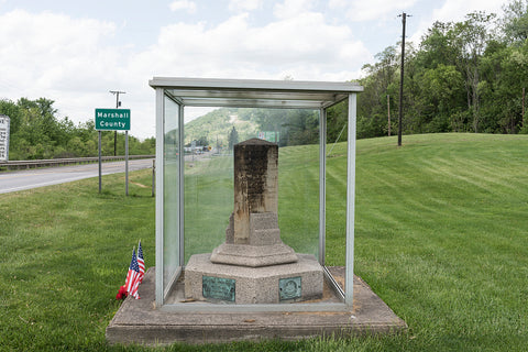 18 x 24 Photograph reprinted on fine art canvas  of An old monument marking the famous Mason-Dixon Line the demarcation between free and slave states before the U.S. Civil War. This one sits on another line barely into Wetze