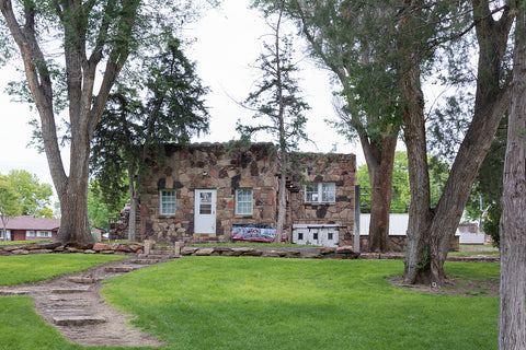 18 x 24 Photograph reprinted on fine art canvas  of A stone building at Willow Creek Park developed in 1933 as Colorado's first Works Progress Administration WPA depression-era work project in Lamar Colorado r79 42144 by Hig