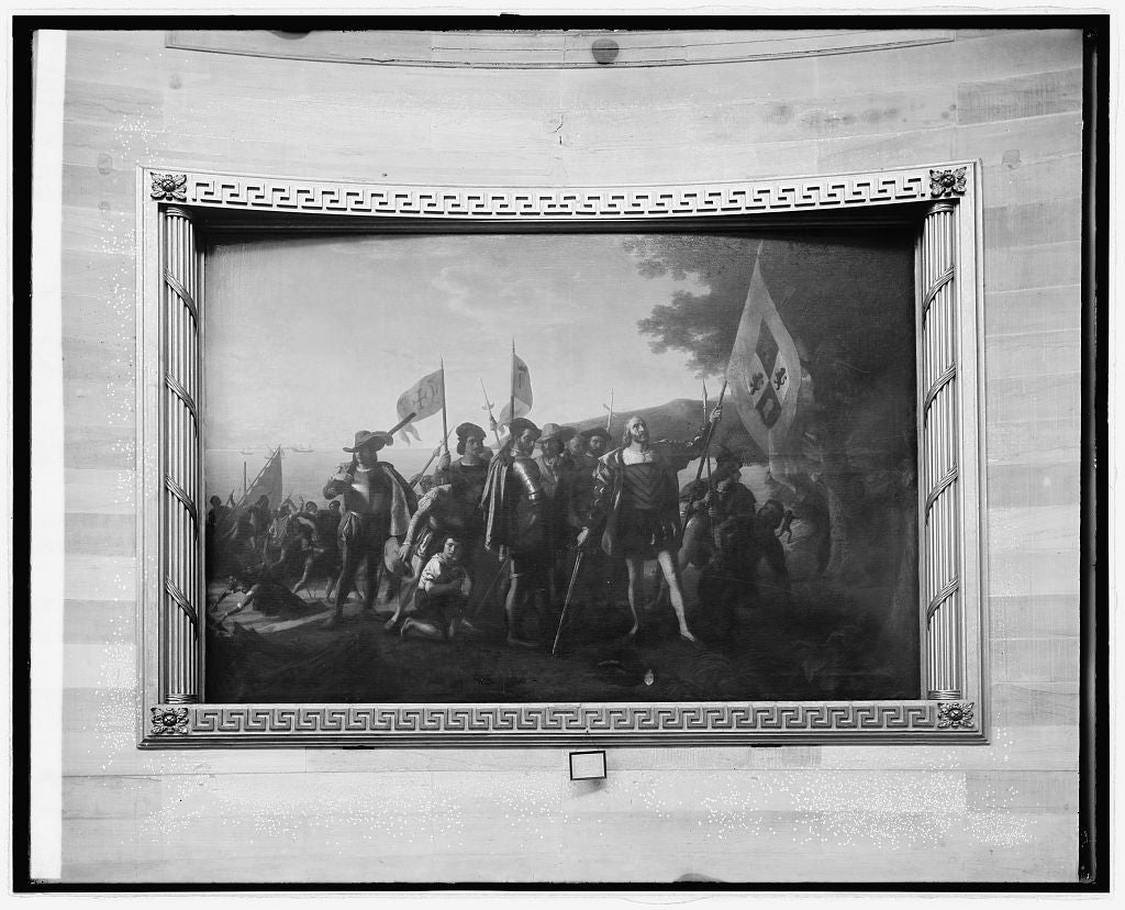 "8 x 10 Reprinted Old Photo of ""Landing of Columbus"" painting at Capitol, [Washington, D.C.] 1918 National Photo Co  41a"