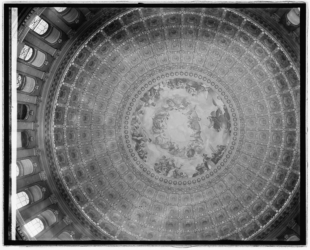"8 x 10 Reprinted Old Photo of ""The Apotheosis of Washington"" by Constantino Brumidi (painting in Capitol Dome), [Washington, D.C.] 1918 National Photo Co  45a"