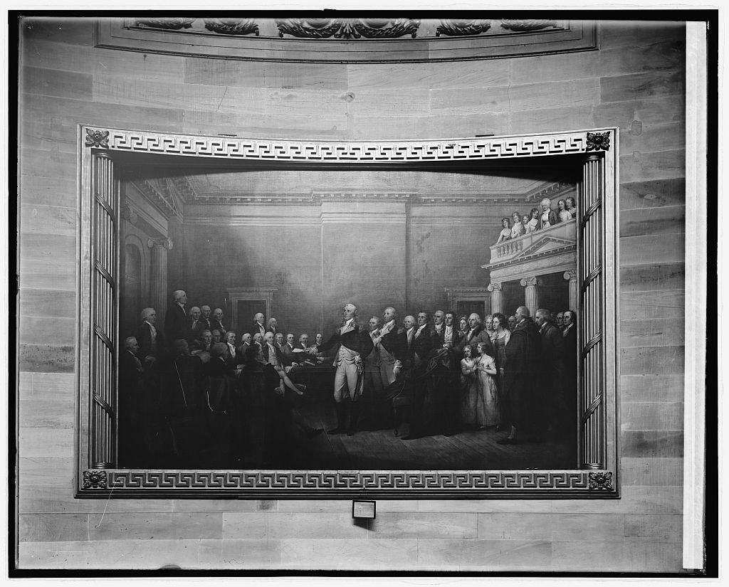 8 x 10 Reprinted Old Photo of George Washington resigning his commission, painting in Capitol, [Washington, D.C.] 1918 National Photo Co  46a