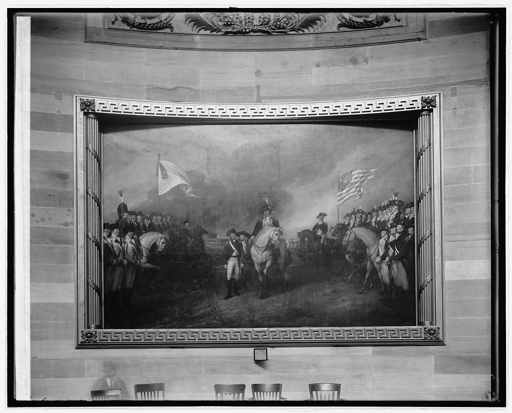 8 x 10 Reprinted Old Photo of Surrender of Cornwallis at Yorktown (painting in Capitol), [Washington, D.C.] 1918 National Photo Co  49a