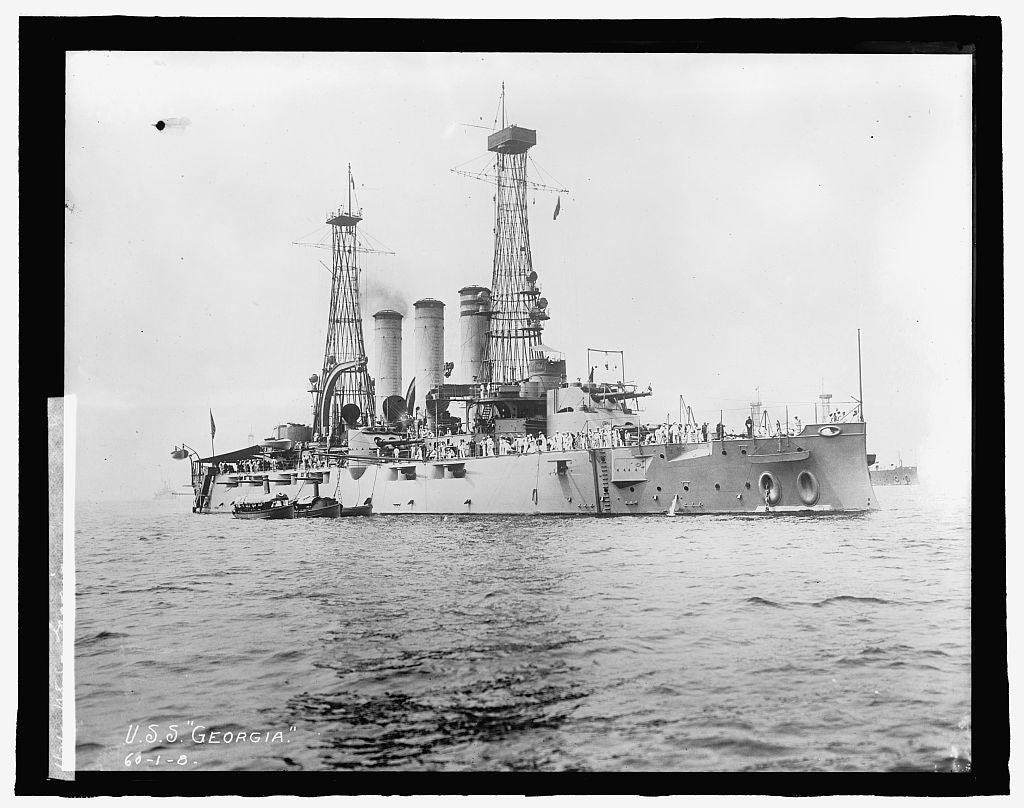 8 x 10 Reprinted Old Photo of U.S.S. Georgia 1909 National Photo Co  75a