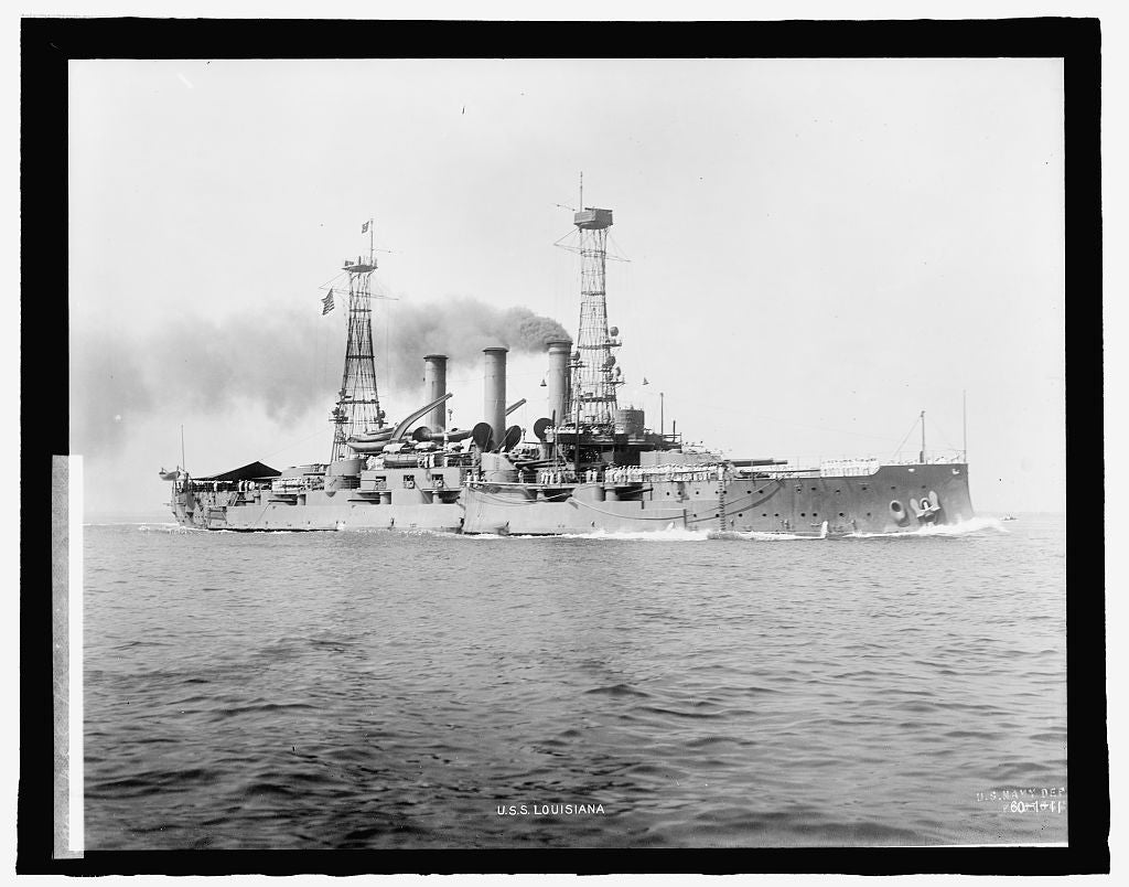 8 x 10 Reprinted Old Photo of U.S.S. Louisiana 1909 National Photo Co  86a
