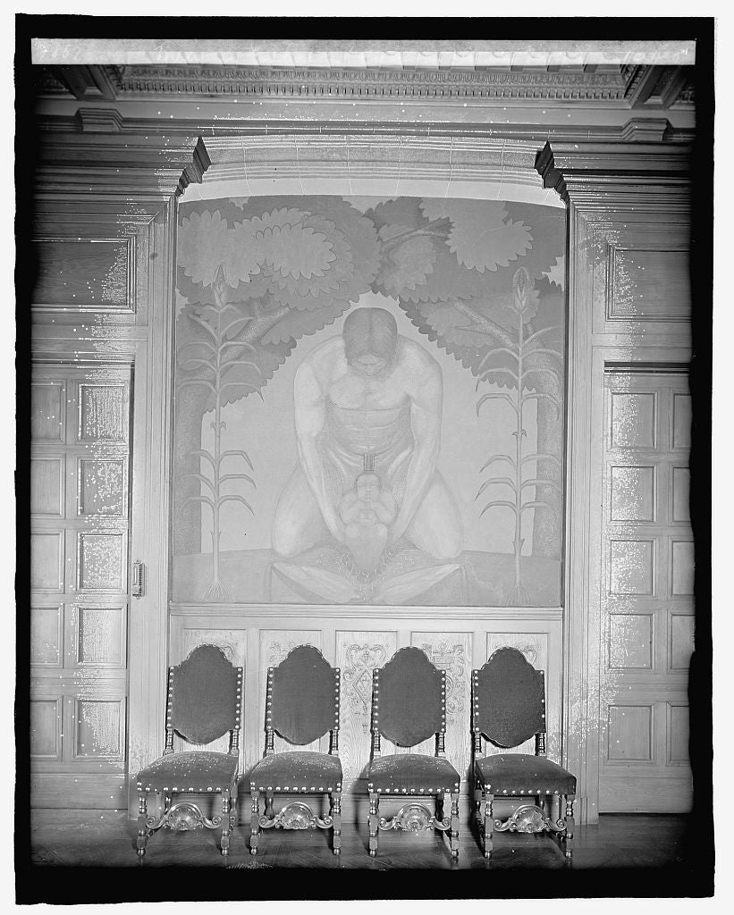 8 x 10 Reprinted Old Photo of Mexican Embassy, [Washington, D.C.], fresco in dining room 1917 National Photo Co  00a