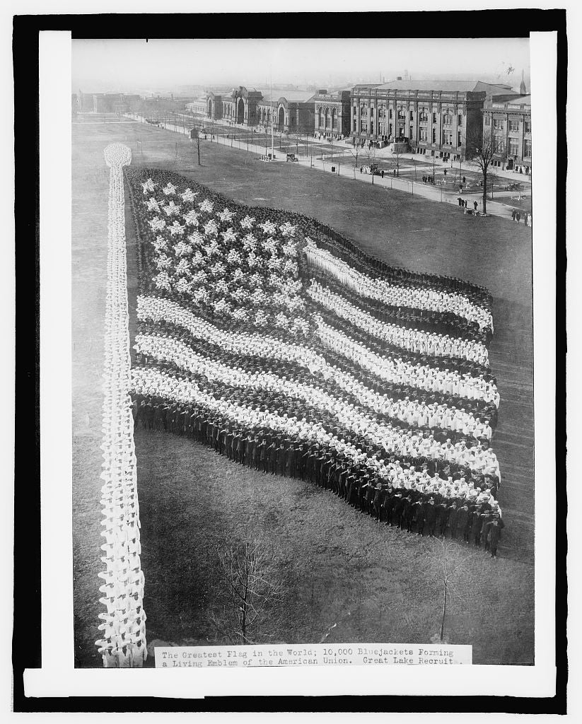 8 x 10 Reprinted Old Photo of Human flag, Great Lakes Training Station 1917 National Photo Co  27a