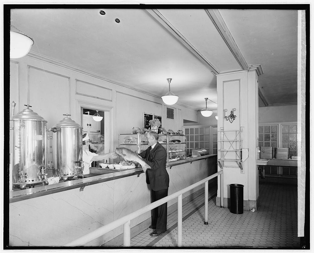 8 x 10 Reprinted Old Photo of C&P Tel. Co. cafeteria showing presentation of Rockfish 1924 National Photo Co  21a