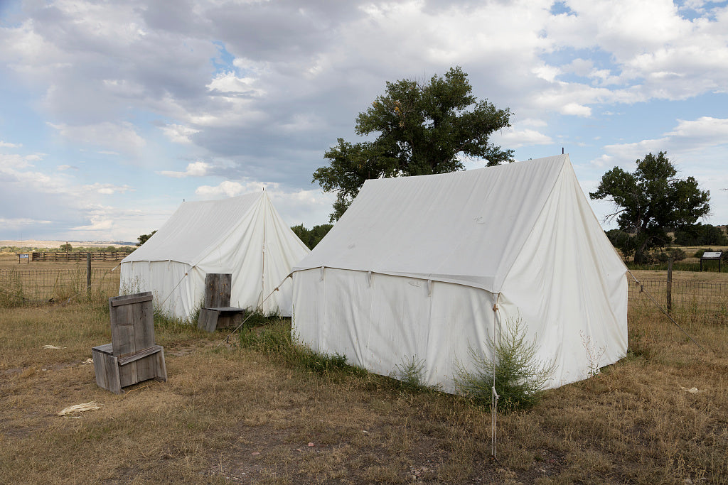 18 x 24 Photograph reprinted on fine art canvas  of Tents at Fort Laramie National Historic Site in what is now Goshen County Wyoming commemorating the 1851 treaty negotiations with Plains Indians that took place there r79 4
