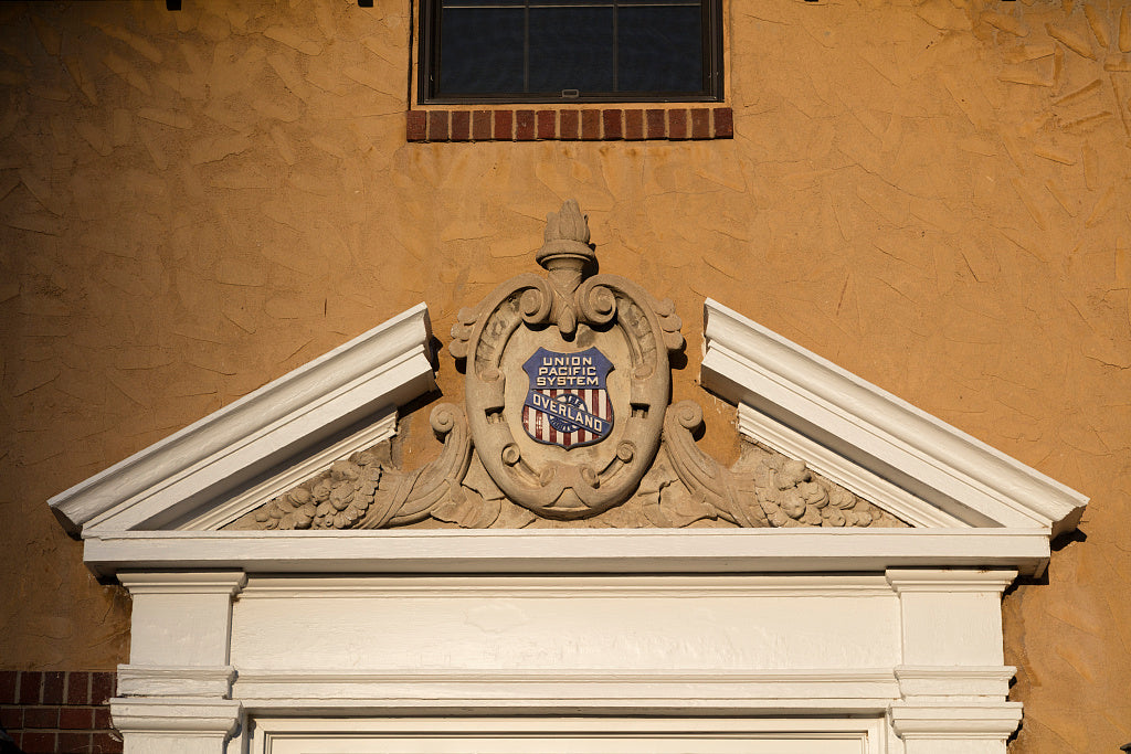 18 x 24 Photograph reprinted on fine art canvas  of Crest above the door of the Union Pacific train depot in Torrington Wyoming r91 42254 by Highsmith, Carol M.,