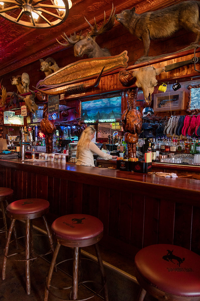 "18 x 24 Photograph reprinted on fine art canvas  of The well-worn bar inside the Mint Bar a downtown landmark built in 1907 in Sheridan Wyoming where ""meet you at the Mint"" is still a common expression r01 42255 by Highsmith"