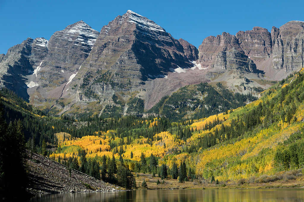 18 x 24 Photograph reprinted on fine art canvas  of Autumnal view of Rocky Mountain peaks called the Maroon Bells between Pitkin County and Gunnison County Colorado southwest of Aspen r13 42267 by Highsmith, Carol M.,