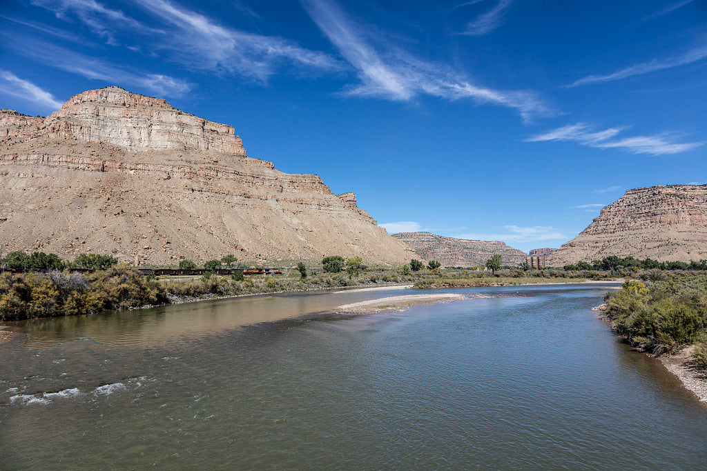 18 x 24 Photograph reprinted on fine art canvas  of Colorado River view between the towns of Rifle and Palisade in Mesa County Colorado r43 42268 by Highsmith, Carol M.,